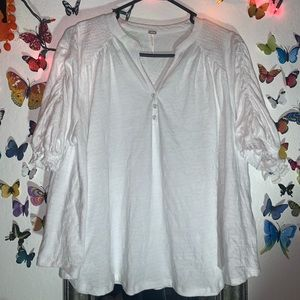 🤍FREE PEOPLE WHITE BLOUSE TOP🤍